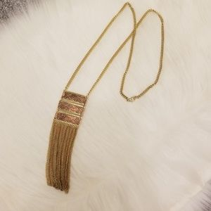 COPPER AND GOLD TRIPLE BAR PENDANT TASSEL NECKLACE